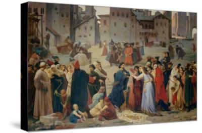 Provenzano Salvani Begging in Piazza del Campo-Amos Cassioli-Stretched Canvas Print