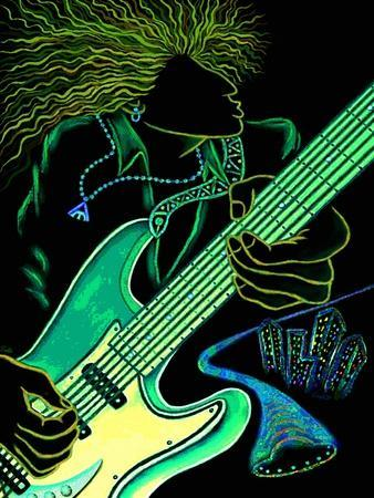 Cosmic Guitar Player-Emiko Aumann-Stretched Canvas Print