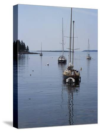 Moored Sailboat Near New Harbor, Maine-Scott Warren-Stretched Canvas Print