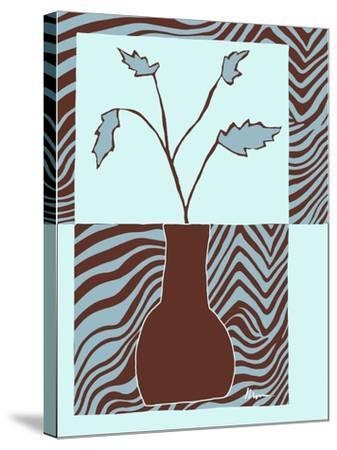 Minimalist Flowers in Blue II- Goldberger & Archie-Stretched Canvas Print