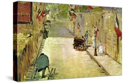 Rue Mosnier with Flags-Edouard Manet-Stretched Canvas Print