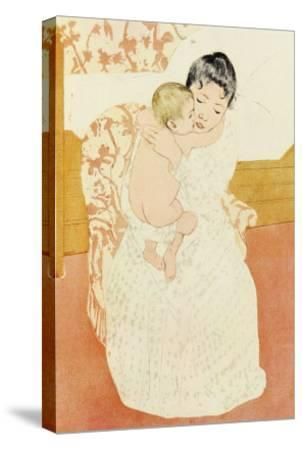 Motherly Tenderness-Mary Cassatt-Stretched Canvas Print