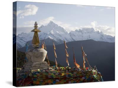 Buddhist Stupas on Way to Deqin, Dequin, Shangri-La Region, Yunnan Province, China-Angelo Cavalli-Stretched Canvas Print