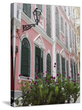 Portuguese Colonial Architecture, Macau, China, Asia-Ian Trower-Stretched Canvas Print