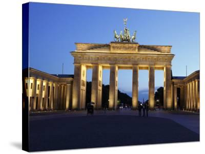 Brandenburg Gate Floodlit in the Evening, Pariser Platz, Unter Den Linden, Berlin, Germany, Europe--Stretched Canvas Print