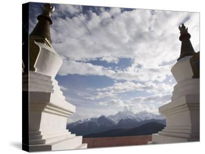 Buddhist Stupas on Way to Deqin, on the Tibetan Border, Shangri-La Region, Yunnan Province, China-Angelo Cavalli-Stretched Canvas Print