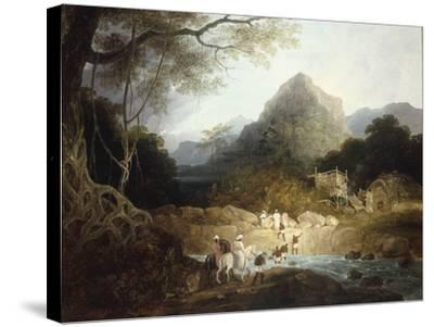 Mounted Horsemen and Bearers Crossing a Stream, India-Charles D'oyly-Stretched Canvas Print