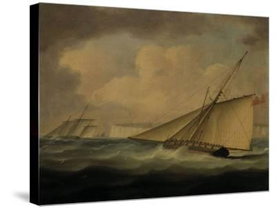 An Armed Cutter off the Coast-Thomas Buttersworth-Stretched Canvas Print
