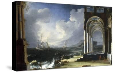 A Capriccio View with Classical Ruins by the Sea-Leonardo Coccorante-Stretched Canvas Print