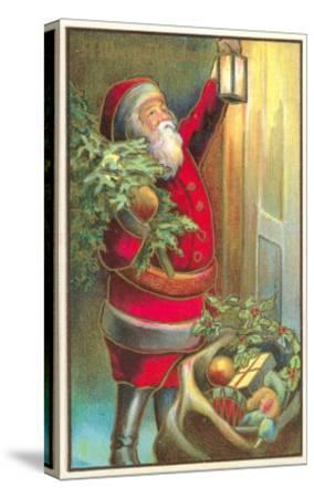 Santa Claus with Lantern--Stretched Canvas Print