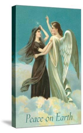 Peace on Earth, Lady with Angel on Clouds--Stretched Canvas Print