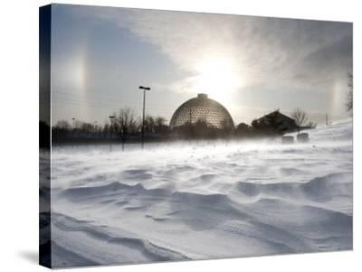 Sun Dog Forms Above the Desert Dome at Omaha's Henry Doorly Zoo, in Omaha, Nebraska--Stretched Canvas Print
