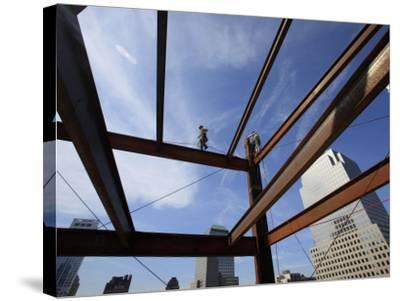 Ironworker Walks a Beam Above the 24th Floor of One World Trade Center in New York--Stretched Canvas Print