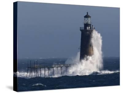 Heavy Surf Slams into the 72-Foot-Tall Ram Island Ledge Light--Stretched Canvas Print