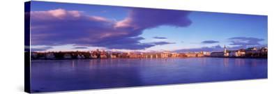 Buildings at Waterfront, Tjornin, Reykjavik, Iceland--Stretched Canvas Print