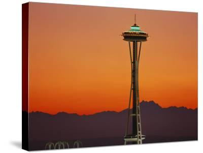 Space Needle and Olympic Mountains at Dusk, Seattle, Washington, USA-David Barnes-Stretched Canvas Print