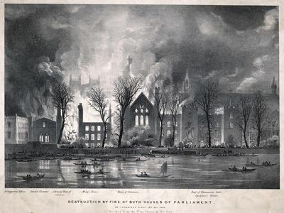 Burning of the Houses of Parliament--Stretched Canvas Print