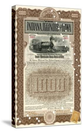 Indiana, Illinois and Iowa Rail Road Company Share Certificate--Stretched Canvas Print
