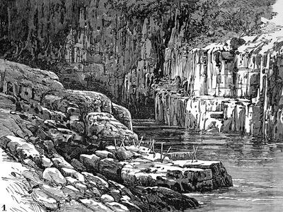 Hell's Gate Canyon, Fraser River, 1882--Stretched Canvas Print