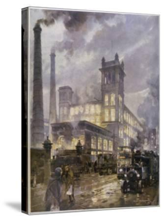 Preston, Lancashire: Horrockses Crewdson and Co. Centenary Cotton Mills, on a Rainy Day--Stretched Canvas Print