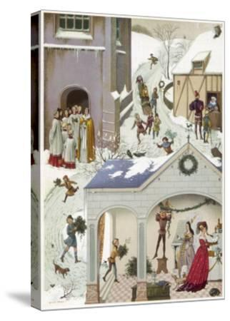 Medieval Christmas Scene--Stretched Canvas Print