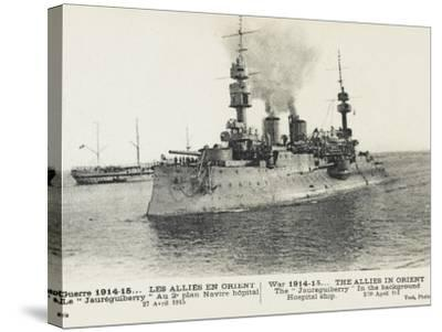 The French Warship Jaureguiberry - Dardanelles--Stretched Canvas Print