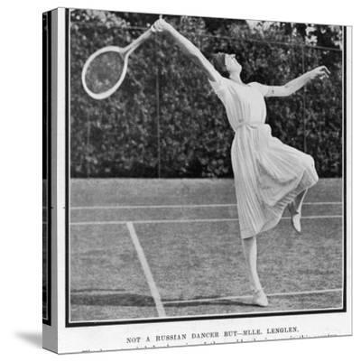 Suzanne Lenglen Taking a Shot--Stretched Canvas Print