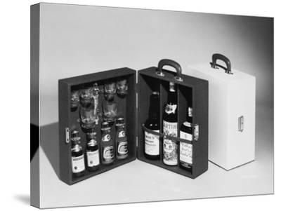 A Handy Case Containing Whisky, Martini and Gin, Mixers, a Bottle Opener and Glasses!--Stretched Canvas Print