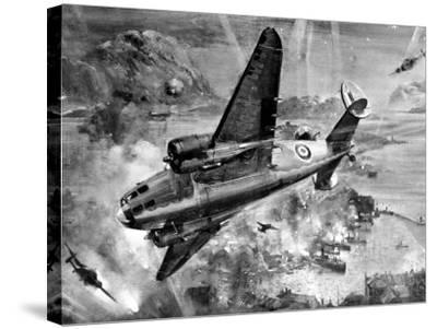 Lockheed 'Hudsons' Bombing Aalesund; Second World War, 1941--Stretched Canvas Print