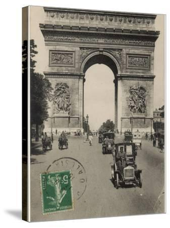 Paris: Arc De Triomphe with Early Cars--Stretched Canvas Print