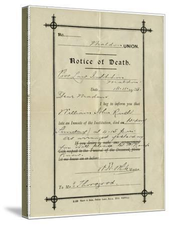 Notice of Death from Union Workhouse, Maldon, Essex-Peter Higginbotham-Stretched Canvas Print