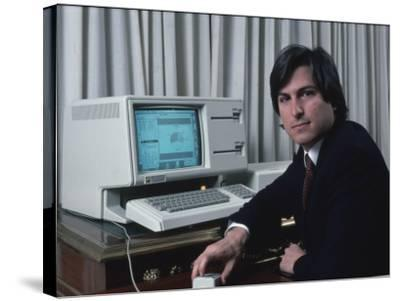 Apple Computer Chrmn. Steve Jobs with New Lisa Computer During Press Preview-Ted Thai-Stretched Canvas Print