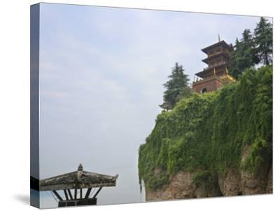 China, Hubei Province, Near Yichang, Ancient Tiger Tooth Battleground, Ancient Pagoda on the Cliff-Keren Su-Stretched Canvas Print