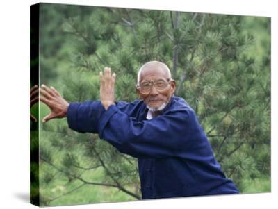 China, Shaanxi Province, Xian, Elderly Man Doing Taichi-Keren Su-Stretched Canvas Print