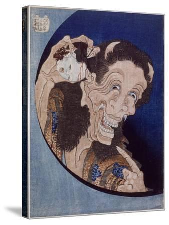 Démon riant-Katsushika Hokusai-Stretched Canvas Print