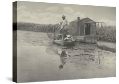 An Eel-catcher's home-Peter Henry Emerson-Stretched Canvas Print