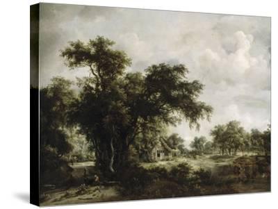 La ferme-Meindert Hobbema-Stretched Canvas Print