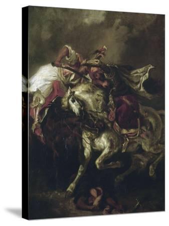 Combat du Giaour et du Pacha.-Eugene Delacroix-Stretched Canvas Print