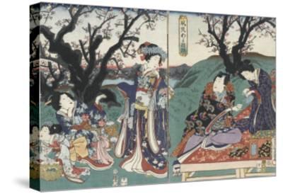 Quartier des maisons de plaisir à l'aube-Utagawa Kunisada-Stretched Canvas Print
