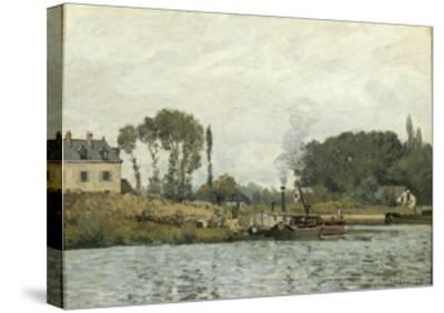 Bateaux à l'écluse de Bougival (Yvelines)-Alfred Sisley-Stretched Canvas Print