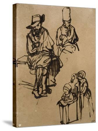 Homme assis, homme en buste coiffé d'un bonnet, et deux enfants-Rembrandt van Rijn-Stretched Canvas Print
