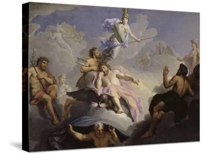 Minerve naissant toute armée du cerveau de Jupiter-Ren? Antoine Houasse-Stretched Canvas Print