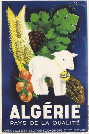 Affiche de Guy Nouen Algérie, pays de la qualité--Stretched Canvas Print