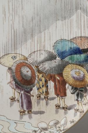 Ensemble de quatre assiettes à décor extrême-oriental--Stretched Canvas Print