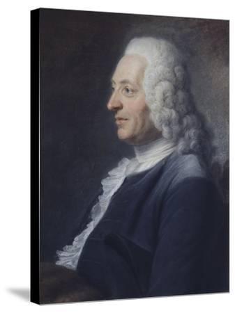 Portrait présumé du Président Herraut-Maurice Quentin de La Tour-Stretched Canvas Print