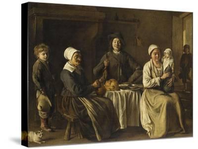 La Famille heureuse ou le retour du baptême-Louis Le Nain-Stretched Canvas Print