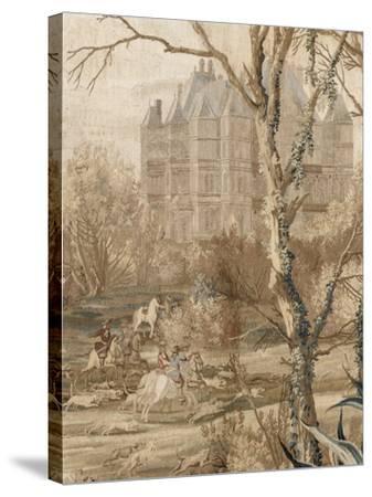 Les Maisons royales. Une entrefenêtre de la tenture. Une chasse en vue du château de Madrid-Charles Le Brun-Stretched Canvas Print