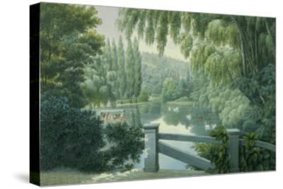 Vue de Malmaison : promenade des dames d'honneur sur la rivière.-Auguste Garneray-Stretched Canvas Print