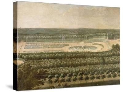 Vue de l'Orangerie, des parterres et du château de Versailles prises des hauteurs de Satory-Etienne Allegrain-Stretched Canvas Print