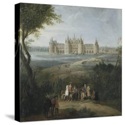 Vue du château de Chambord vers 1722 - au premier plan, le duc d'Orléans, Régent, donnant ses-Pierre Denis Martin-Stretched Canvas Print
